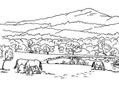 Animals Drawings - Horses On The Ranch Ink Drawing V by Irina Sztukowski