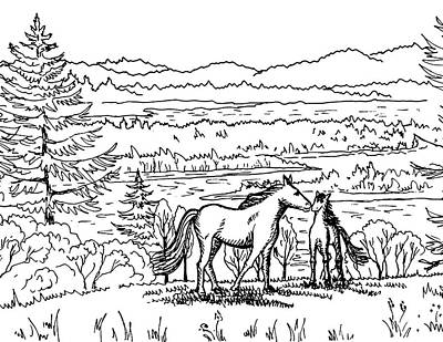 Animals Royalty-Free and Rights-Managed Images - Horses On The Ranch Ink Drawing X by Irina Sztukowski