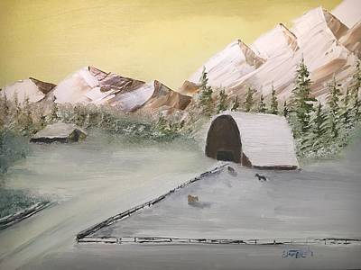 Painting - Horses Outside Barn by David Bartsch