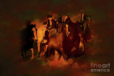Horses Stampede Painting - Horses Paintings 34b by Gull G