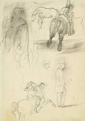Drawing - Horses Riders And A Young Man by Edgar Degas