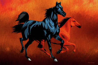 Digital Art - Horses Running - Painting by Ericamaxine Price