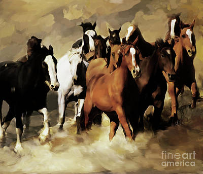 Horses Stampede Painting - Horses Stampede 091 by Gull G