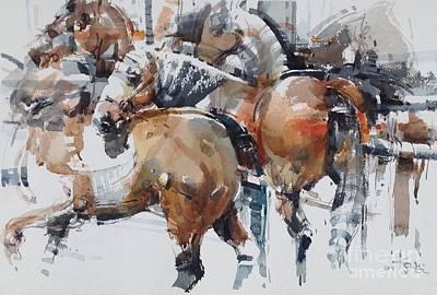 Horserace Painting - Horses Study by Tony Belobrajdic