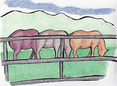 Drawing - Horses Through A Fence by Loretta Nash