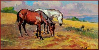 A Summer Evening Landscape Painting - Horses by Vaccaro