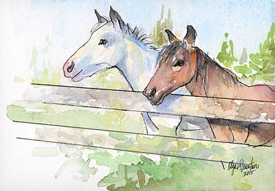 Animal Wall Art - Painting - Horses Watercolor Sketch by Olga Shvartsur