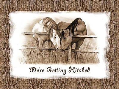 Drawing - Horses Western Wedding Invitation Getting Hitched by Joyce Geleynse