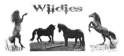 Drawing - Horses Wildies by Marianne NANA Betts
