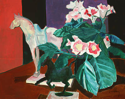 Painting - Horses With Floral by Thomas Tribby