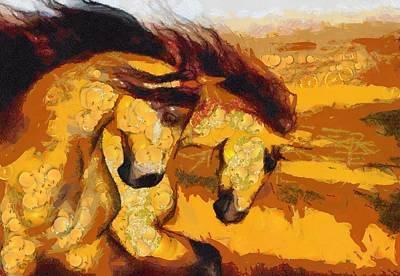 Digital Art - Horses Xanthic by Catherine Lott