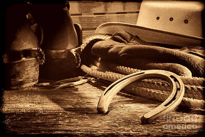Photograph - Horseshoe And Cowboy Gear by American West Legend By Olivier Le Queinec