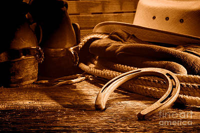 Horseshoe And Cowboy Gear - Sepia Art Print by Olivier Le Queinec