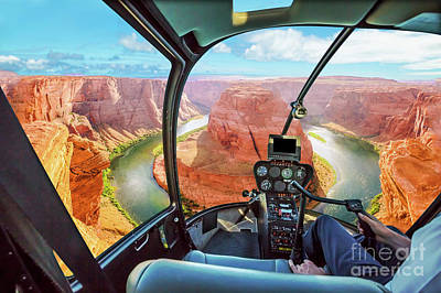Photograph - Horseshoe Bend Helicopter by Benny Marty