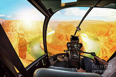 Photograph - Horseshoe Bend Helicopter Sunset by Benny Marty
