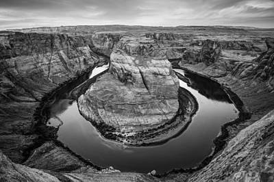 Horseshoe Bend Morning - Page Arizona Black And White Art Print by Gregory Ballos