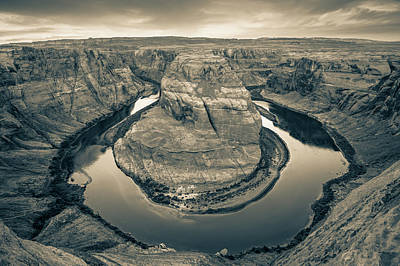 Horseshoe Bend Morning - Page Arizona Sepia Art Print by Gregory Ballos