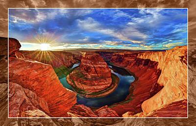 Manipulation Photograph - Horseshoe Bend Sunset by ABeautifulSky Photography by Bill Caldwell