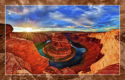 Manipulation Photograph - Horseshoe Bend Sunset by ABeautifulSky Photography