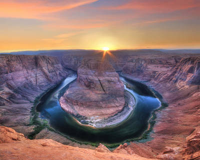 Grand Canyon Mixed Media - Horseshoe Bend Sunset by Lori Deiter
