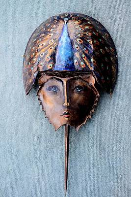 Sculpture - Horseshoe Crab Mask Peacock Helmet by Roger Swezey