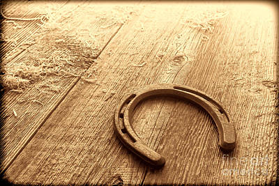 Photograph - Horseshoe On Barn Floor by American West Legend By Olivier Le Queinec