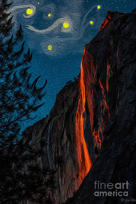 El Capitan Digital Art - Horsetail Fall - Lava Flow 'starry Night' by Jon Ma