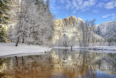 Horsetail Fall Reflections Winter Yosemite National Park Art Print