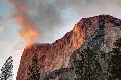 Photograph - Horsetail Falls Cloudy Sunset by Connie Cooper-Edwards