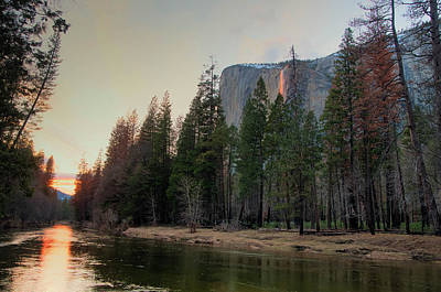 Photograph - Horsetail Falls Merced River Sunset 2017 by Connie Cooper-Edwards