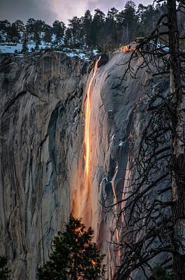 Photograph - Horsetail Waterfall Glow 2017-2-24 by Connie Cooper-Edwards