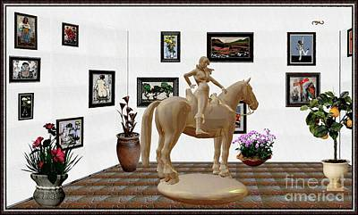 Mixed Media - Virtual Exhibition -statue Of Horsewoman 12 by Pemaro