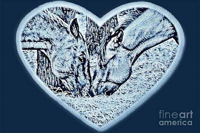 Photograph - Horsey Love Wintery Colors by Cindy New