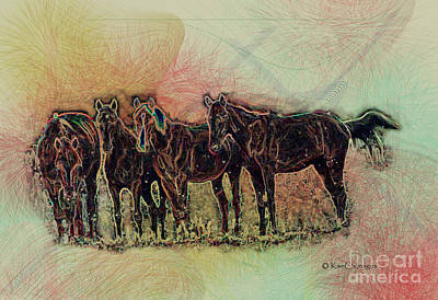 Digital Art - Horsing Around 2 by Kae Cheatham