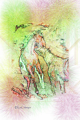 Digital Art - Horsing Around 3 by Kae Cheatham