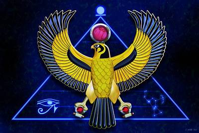 Digital Art - Horus Egyptian Sun God by John Wills