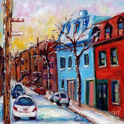 Houses In St Henri Winter Street Scene Montreal Painting Art Print