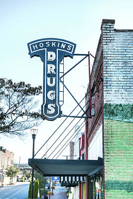 Photograph - Hoskins Drugs Sign by Sharon Popek