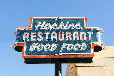 Photograph - Hoskins Restaurant Sign by Sharon Popek