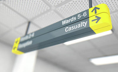 Walkway Digital Art - Hospital Directional Sign Casualty by Allan Swart