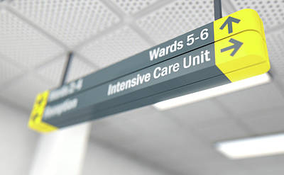 Walkway Digital Art - Hospital Directional Sign Intensive Care Unit by Allan Swart