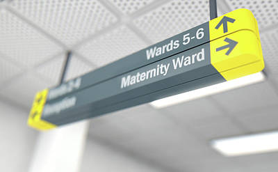 Maternity Wall Art - Digital Art - Hospital Directional Sign Maternity by Allan Swart
