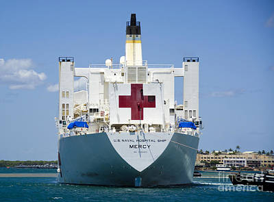 Mercy Photograph - Hospital Ship Usns Mercy At Joint Base by Stocktrek Images