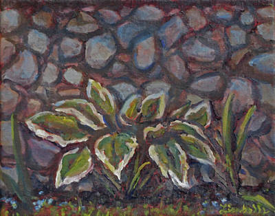 Stonewall Painting - Hosta By Stonewall by Art By Lisabelle