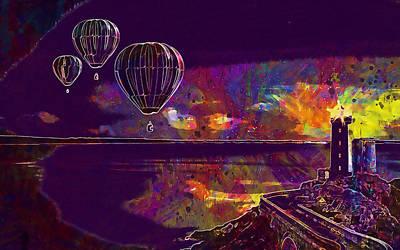Digital Art - Hot Air Ballons by PixBreak Art