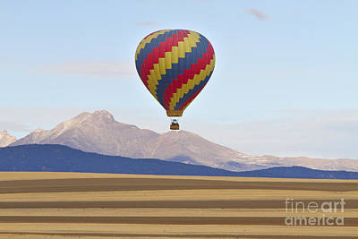 Balloons Photograph - Hot Air Balloon And Longs Peak by James BO  Insogna