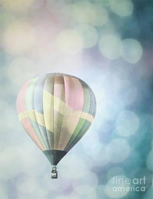 Photograph - Hot Air Balloon Dreamy Bokeh Sky Landscape by Andrea Hazel Ihlefeld
