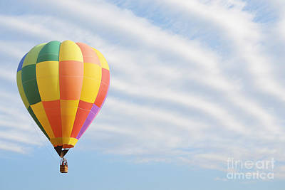 Photograph - Hot Air Balloon Dreamy Clouds Sky Landscape by Andrea Hazel Ihlefeld
