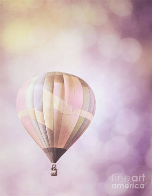 Photograph - Hot Air Balloon Dreamy Lavender Bokeh Sky Landscape by Andrea Hazel Ihlefeld