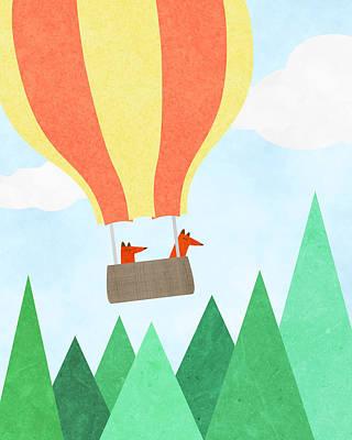 Fox Digital Art - Hot Air Balloon Exploring Nursery Art by Brett Pfister